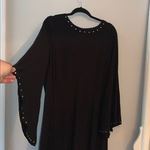 Black dress with gold sequins and bell sleeves